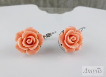 Ohrstecker Rose, lachs