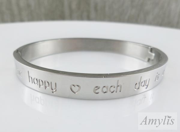 Armreifen Be happy each day is a gift, Stahl, silberfarben